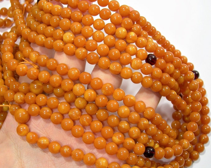 Amber Reconstituted - 8mm  round - 34 inch  strand - 108 beads - RFG1792