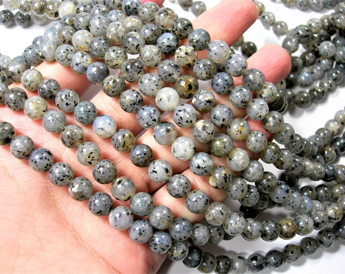 Pitaya Quartz - 8mm round beads - full strand - 48 beads - Black dot quartz -  RFG1624