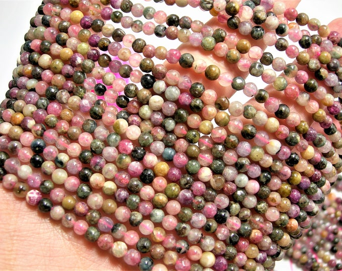 Tourmaline - 4mm  round beads - 16 inch - 40 cm strand - 100 beads - multi colored tourmaline - RFG1512