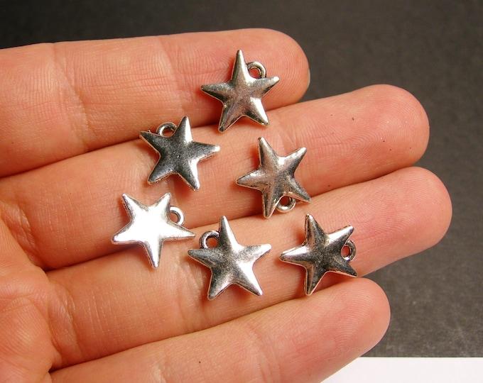 24 star silver charm  beads - 24 pcs -  ASA76