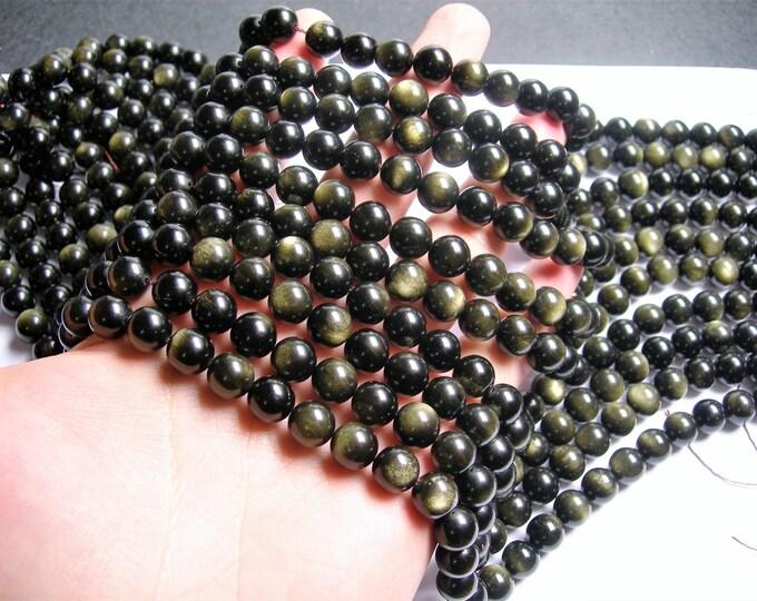 Golden Black Obsidian - 10 mm round beads -1 full strand - 40 beads - RFG232