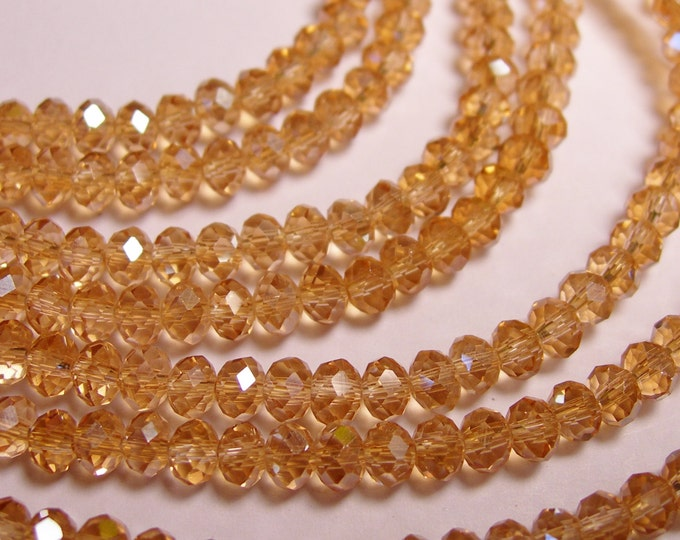 Crystal faceted rondelle - 4mm - 100 beads - peach - full strand - NCRF3
