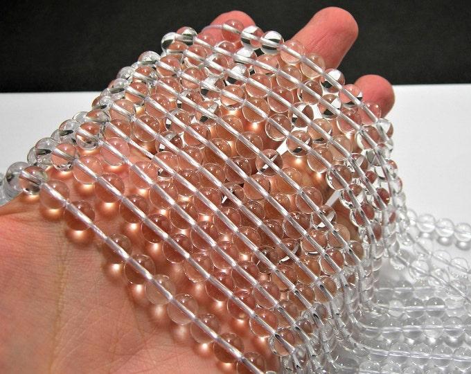 Clear quartz - 8 mm round - AA quality - 48 beads per strand - genuine quartz - RFG467