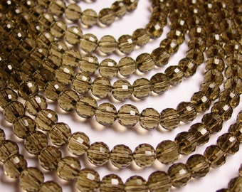 Crystal - round faceted 6mm beads - 72 beads - AA quality -  Full strand - smoky  -  FCABR9