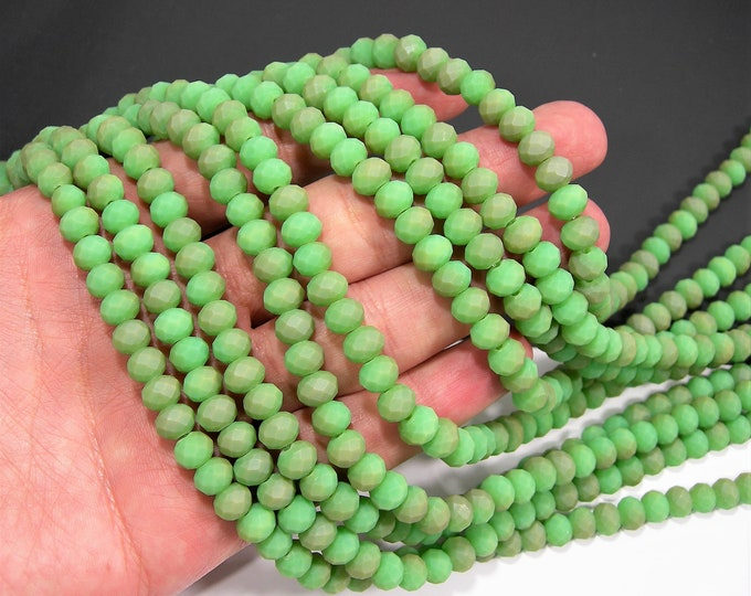Crystal faceted rondelle - 70 pcs - 8 mm - AA quality - full strand - matte green dual tone - RFG1956