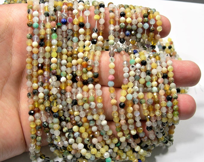 Gemstone mix - 3.5 mm micro faceted round beads - 115 beads - Full strand  - A Quality - PG238
