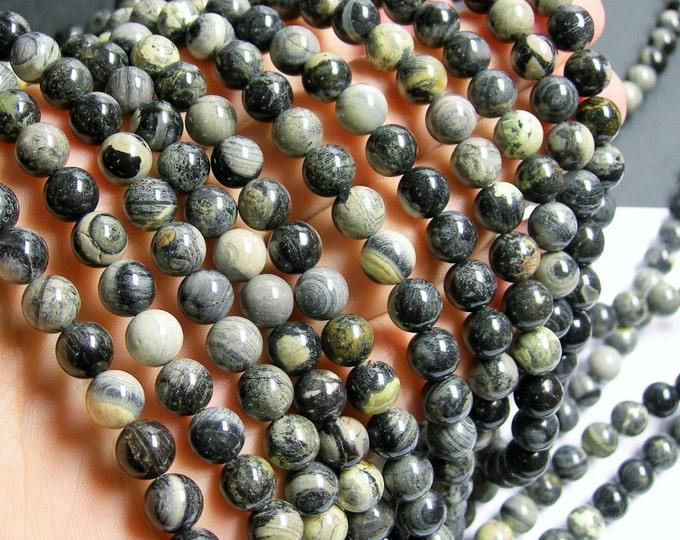 Black Silver leaf Jasper - 8 mm round beads -1 full strand - 50 beads - A quality - RFG422
