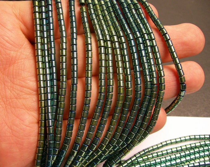 Hematite aqua green - 3x3mm tube beads - full strand - 132 beads - AA quality -  - PHG145