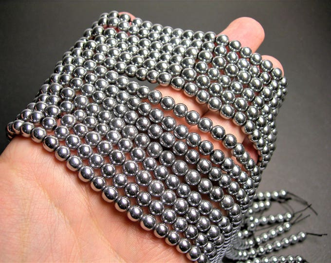 Silver Hematite - 6 mm round beads - full strand - 67 beads - AA quality - RFG1415A