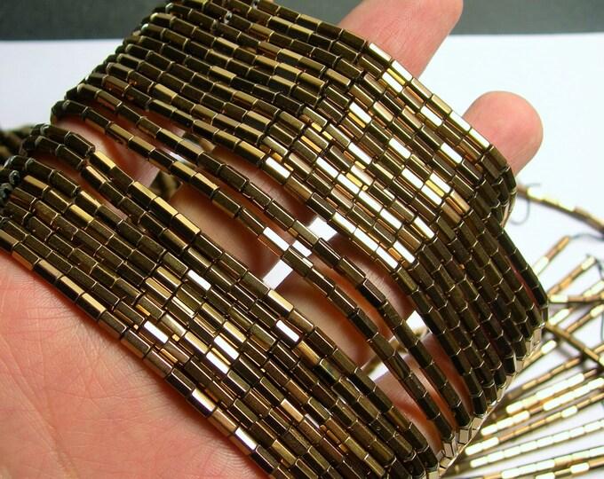 Hematite bronze - 5mm tube hexagon beads -  full strand - 82 beads - AA quality - Bronze -  PHG239