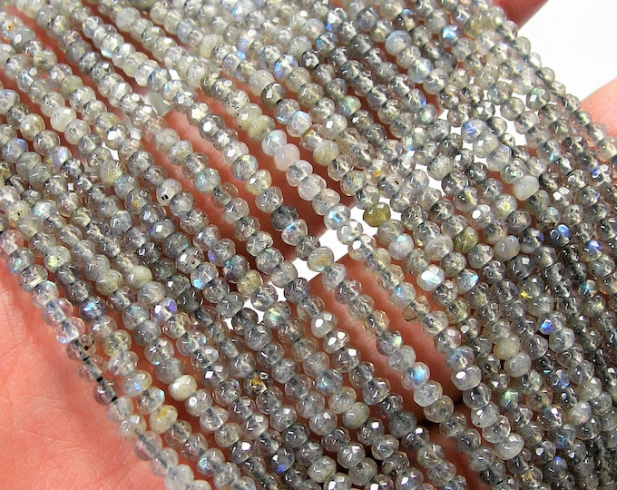 Labradorite - 3mm faceted rondelle beads - full strand  185 beads - micro faceted labradorite  - PG155