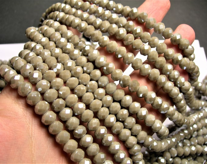 Crystal faceted rondelle - 71 pcs - 8 mm - AA quality - full strand -  beige grey  - GSH61