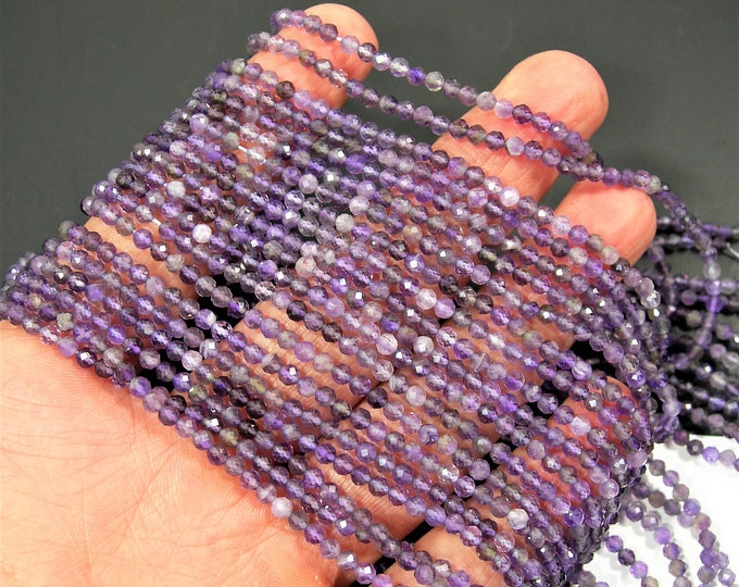 Amethyst - 3mm(2.8mm) micro faceted beads - full strand - 130 beads - 16 inch - 40 cm - Amethyst gemstone - PG280