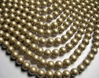Pearl - 10 mm round - Satin matte  Pearl  - Golden beige - 1 full strand - 40 beads - SPT37 - Shell pearl