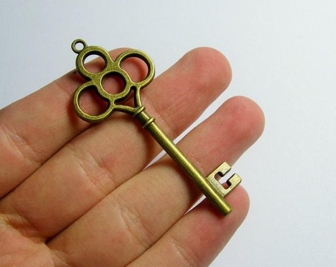 Antique key charms - 12 pcs - brass - antique bronze - 62mm x 27mm - BAZ128