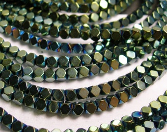 Hematite aqua green 3mm faceted rhombus square - full strand - 134 beads - AA quality - PHG28