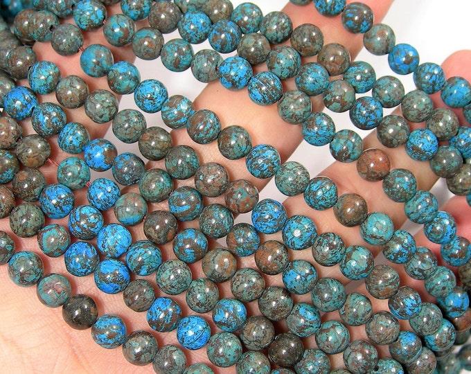 Blue Calsilica 6mm(6.5mm) - 61 beads per strand - full strand - turquoise snowflake obsidian - RFG1914