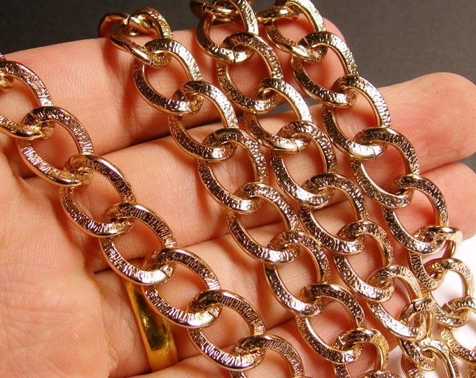 Rose gold chain -  lead free nickel free won't tarnish - 1 meter - 3.3 feet - aluminum chain - textured -NTAC57