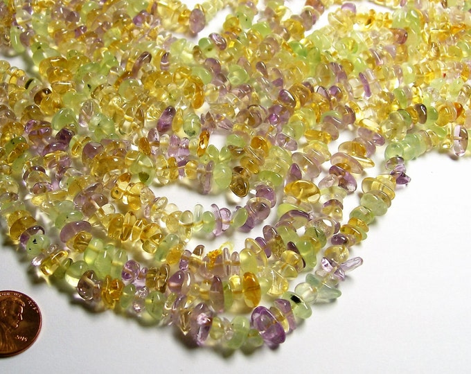 Amethyst Citrine  Prehnite mix gemstone bead - full strand - pebble  chip stone - A quality - PSC279