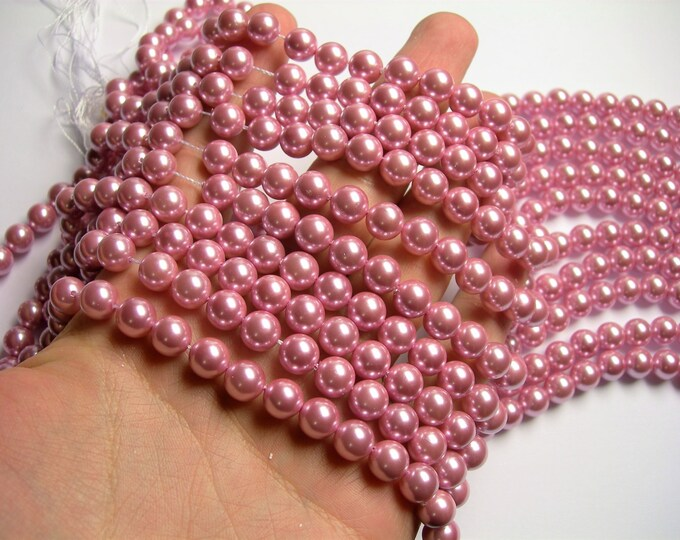 Pearl  - 8 mm round - lavender pink Pearl - 1 full strand - 48 beads - SPT7 - Shell pearl