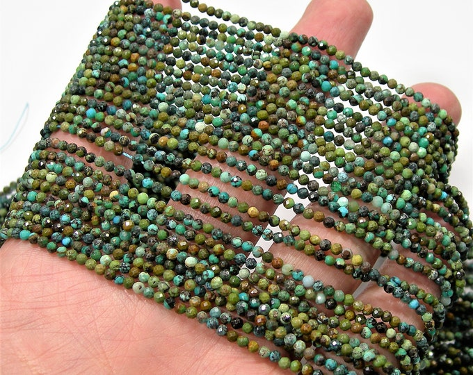 Turquoise - 2.3mm faceted round beads - full strand  - 162 beads - Turquoise gemstone - Micro Faceted - PG246