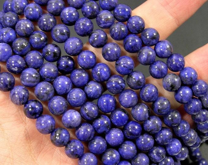 Charoite - 8mm round beads - full strand - 48 beads - Deep purple natural Charoite - RFG1850