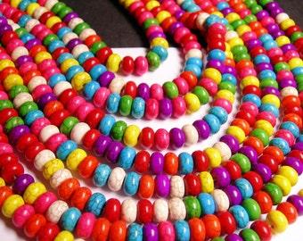 Howlite turquoise - multicolor - 8mm rondelle beads - 1 full strand - 78 beads - 8mmx5mm