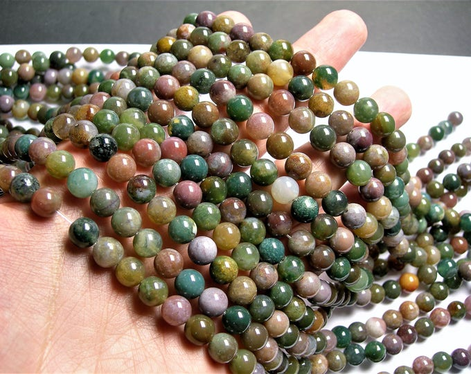 Indian agate 8mm - full strand - 48 beads per strand - AA quality - light tone - WHOLESALE DEAL -   RFG1395