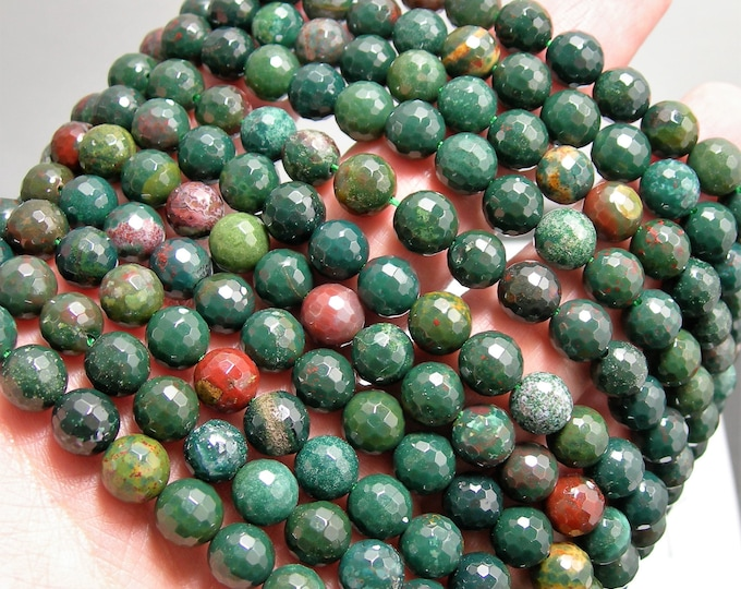 Bloodstone - 8mm faceted round beads - 1 full strand - 49 beads - A quality - RFG1527