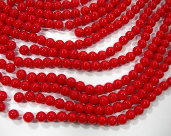 Red Crystal glass - 50 beads - Full Strand - 8 mm - RFG2099
