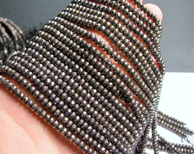 Hematite charcoal  - 3x4mm faceted rondelle beads - full strand - 139 beads - A quality - PHG201