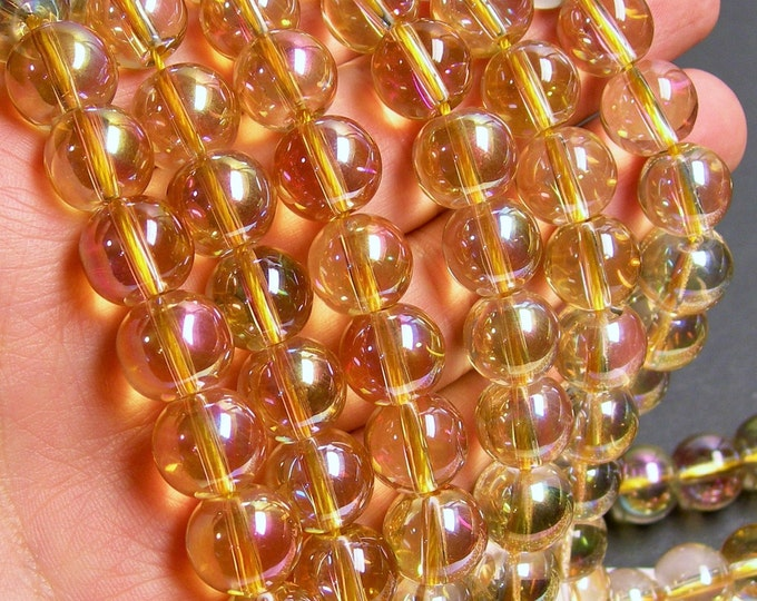Crystal - round - 12 mm - yellow pink topaz color - ab finish - 35 beads - CRV10