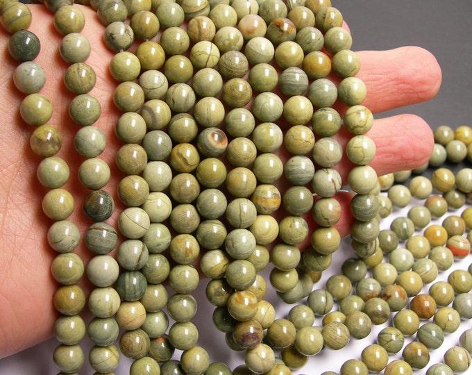 Silver mist Jasper -  8 mm round beads -1 full strand - 50 beads - A quality - RFG283