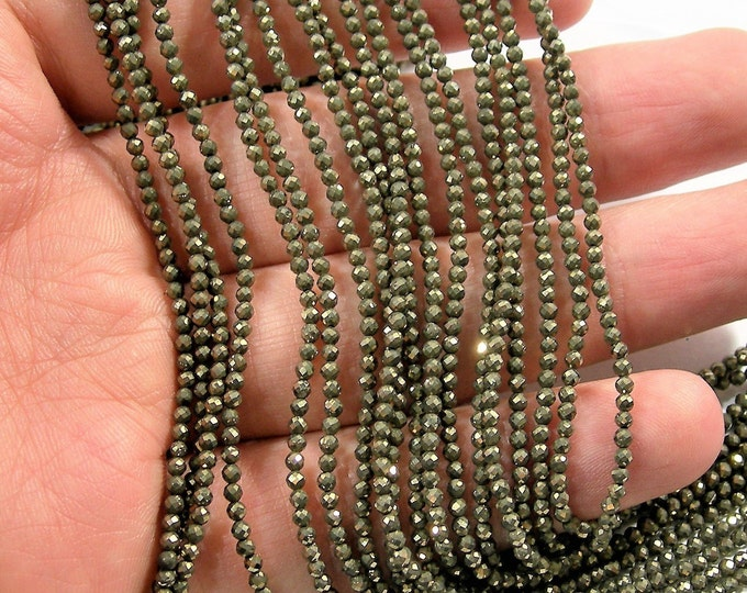 Pyrite 2mm - faceted round beads - 1 full strand - 202 beads - Pyrite - micro faceted - PG191
