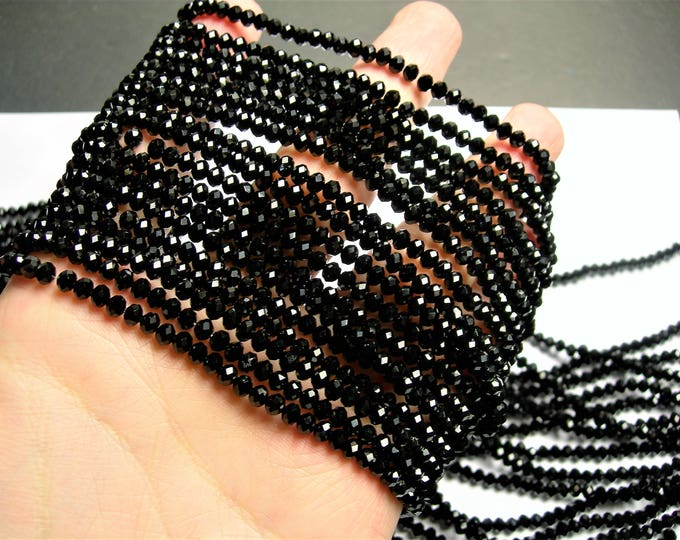 Crystal faceted rondelle - 4mm - 148 beads - black - full strand - WHOLESALE DEAL - CRV91