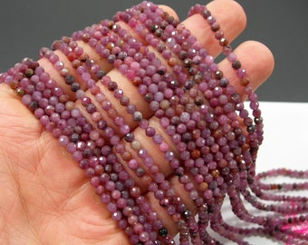 Ruby Corundum - 3mm(3.3mm) micro faceted round beads - full strand - 115 beads - Mix tone Corundum mineral - PG351