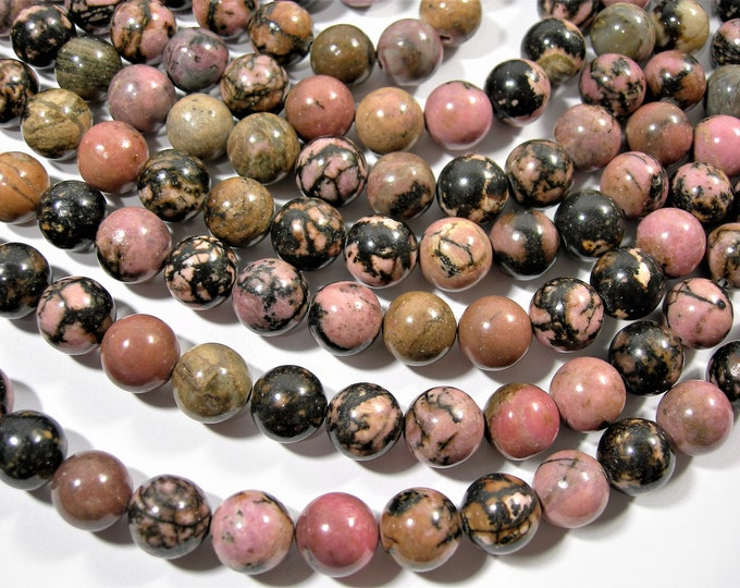 Rhodonite - 10mm round - full strand - 38 beads - RFG1773