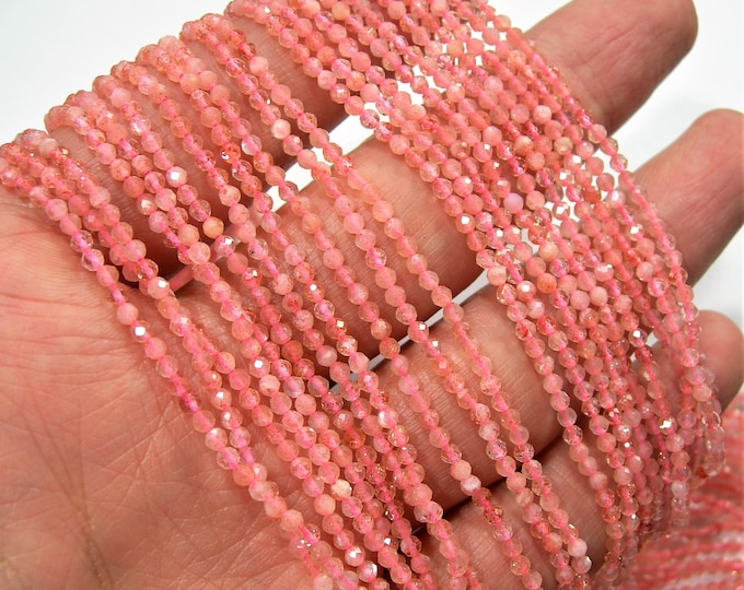 Pink Moonstone - 2.3mm micro faceted round beads -  full strand  16 inch 40 cm - 164 beads - A Quality - PG182