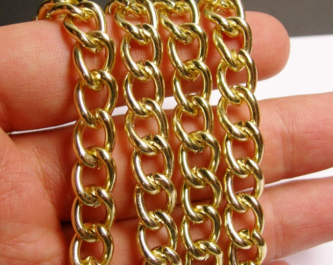 Gold chain - lead free nickel free won't tarnish - 1 meter - 3.3 feet - aluminum chain - cable chain - NTAC66