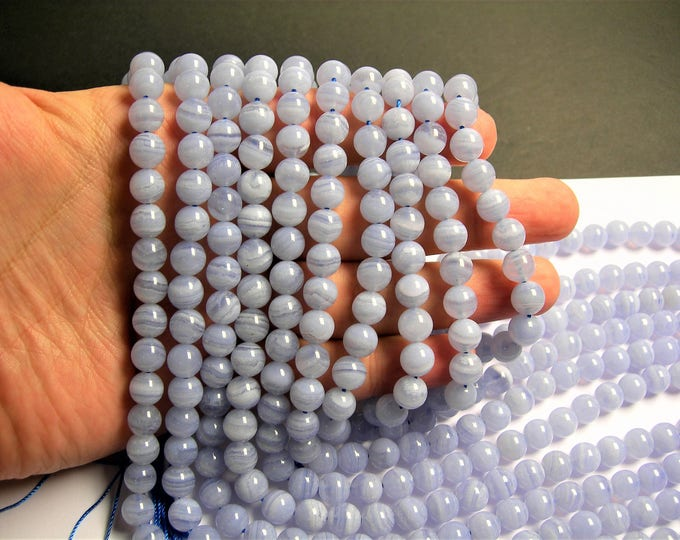 Blue Lace Agate  - 8mm - round bead -  48 beads - full strand - RFG47