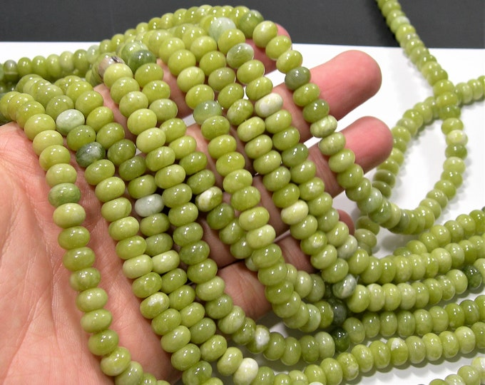 Serpentine jade - 5mmx8mm rondelle - 71 beads - full strand strand - RFG1884