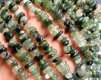 Green rutilated quartz - chip stone beads  -1 full strand - 16 inch - PSC135