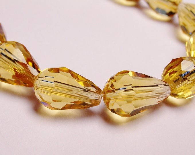 Faceted teardrop crystal  beads 20 pcs 11 mm by 7mm yellow topaz