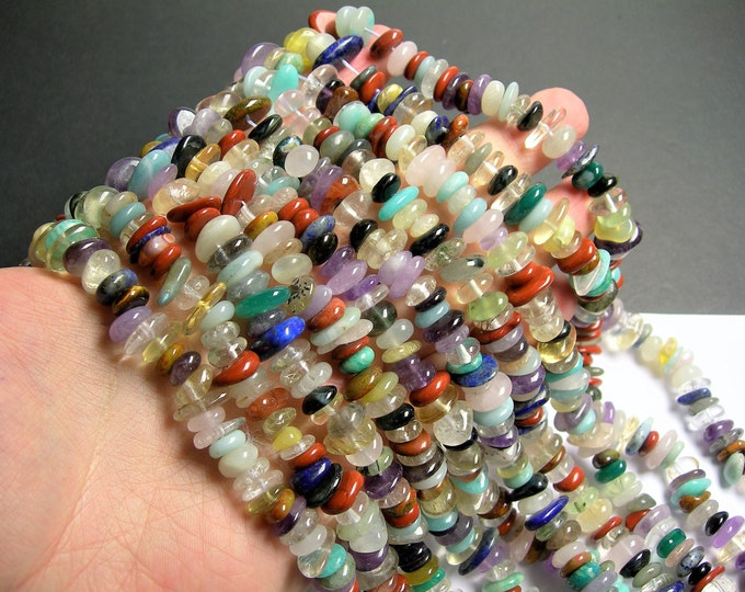 Gemstone mix - 9mm - 12mm - rounded pebble disc beads - multi gemstone mix - full strand - PSC396