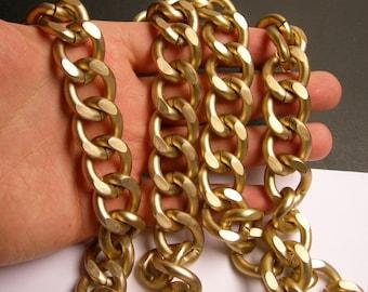 Light brass chain - matte -  1 meter - 3.3 feet - aluminum chain - light brass matte curb chain -  NTAC143