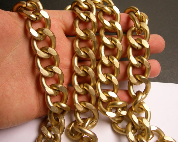 Light brass chain - matte -  1 meter - 3.3 feet - aluminum chain - light brass matte curb chain -  NTAC143