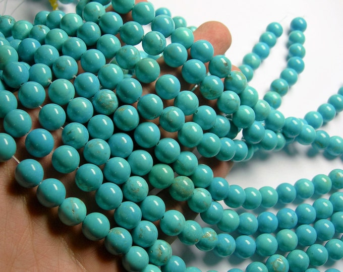 Howlite turquoise - 10mm round beads -1 full strand - 40 beads - A quality - RFG1081