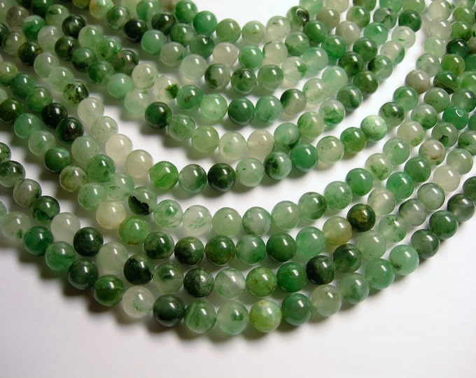 African  green chalcedony- 8mm round beads - full strand - 50 beads - Chalcedony - RFG1037
