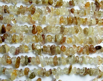 Brown rutilated quartz - chip stone beads - full strand 36 inch - Golden brown rutilated quartz - PSC175