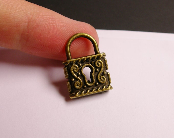 4 pcs antique brass lock charms two sided - lock charms - ZAB18